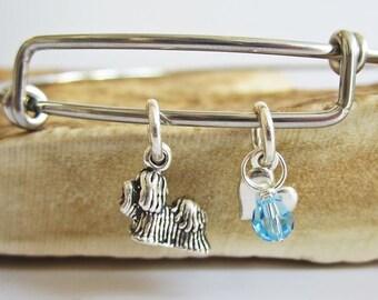 "Maltese Mini Heart Stackable Bangle Bracelet (2.5""-3"")"
