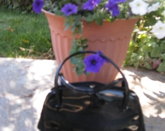 1950s-60s Black Patent Leather Top Handle Handbag/Purse/ Margolin Black Purse/ Mid Century Black Patent Leather