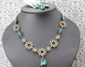 Steampunk/middle ages - Emerald jewelry set