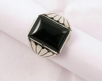 Navajo, black onyx vintage ring, sterling silver