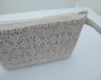 Clutch bag/occasion bag/ wedding clutch/linen and lace clutch with wrist strap.
