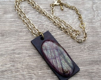 Painted Hills- Genuine Red Labradorite Cabochon Leather Pendant Necklace