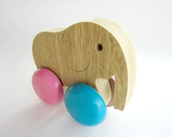 Elephant Pull and Push Toy , Wooden Animal Toy  , Eco Friendly Toy, Elephant On Wheels, Cute elephant
