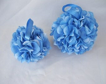 Blue Hydrangea Kissing Ball, Flower Girl,Pomander, Wedding