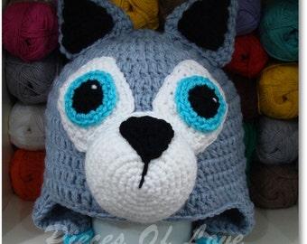 Wolf Crochet Hat, Crochet Wolf, Crochet Dog, Crochet Dog Hat, Crochet Hat, Winter hat, Animal hat