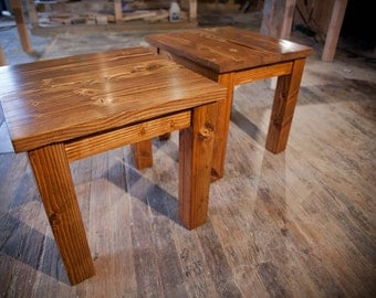 Solid Wood Farmhouse End Table | Rustic End Table | Coffee Table | End  Tables |