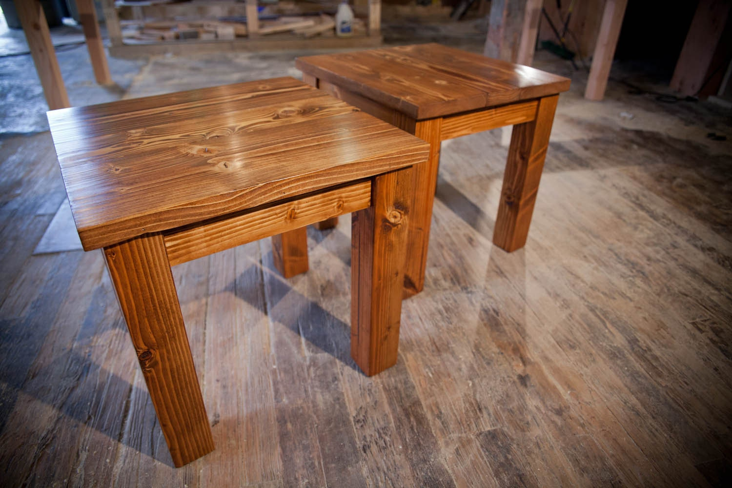 Solid wood farmhouse end table rustic end table coffee for Solid wood farmhouse table