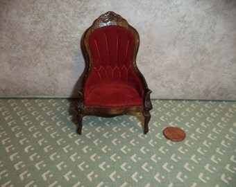 1:12 scale Dollhouse Vintage Victorian Chair (Red)