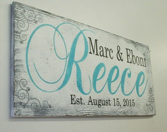 Name Sign Custom Sign Personalized Sign Wedding Gift Bridal Shower Gift Housewarming Gift Anniversary Gift Shabby Chic Wall Decor Distressed