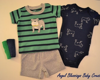 Baby Boy Bulldog Cupcake Gift Set Newborn Size  Unique Baby Shower Welcome Home Present READY TO SHIP w/Baby Gift Card