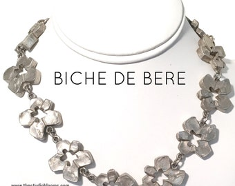 Biche de Bere Pewter Flower Necklace