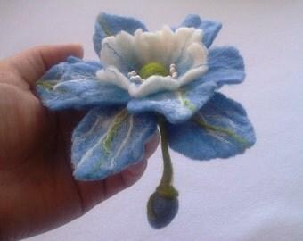 Wool felt jewelry, Blue White Felt Flower Brooch, Hair clip Flower, Pin Flower, Unique,Gift for Her, Felt Pins,Art Jewelry,statement brooch