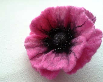 Pink Felt Poppy Flower Brooch, Wool Accessories, Handmade Pink Flower, Gift for Her, Hair Accessories, Unique Flower