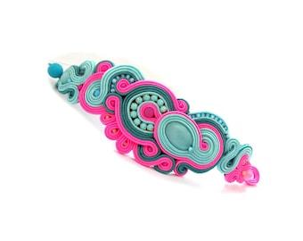 Mint Cuff Bracelet, Handmade Soutache Bracelet, Mint and Pink and Teal, Soutache Jewelry, Colorful Barcelet