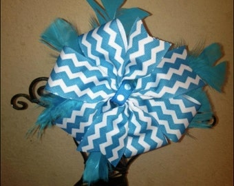 Blue Bow with Feathers on Barrette