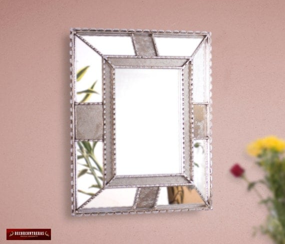 Silver Decorative Wall Mirror Bathroom Silver mirror