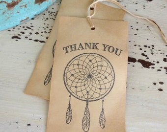 Dream Catcher Coffee Dyed Tags / Thank You / Wedding / Favor Tags / Bohemian / Boho Chic