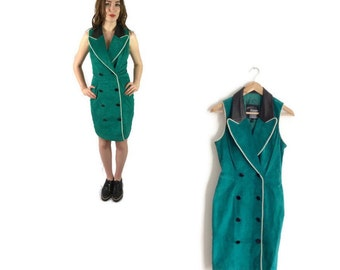 Green suede dress // vintage leather dress // green 80s dress // petite vintage // small fitted vintage dress // UK 8-10 U.S 4-6