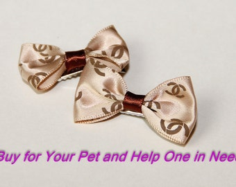 Set of Hair Bows for Small Dogs or Infant, Taupe Bows, Hair Clips, Baby Bows
