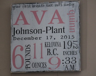 Personalized Wood Baby Name Sign Birth Announcement for Baby Girl or Boy Shower Gift, Birth Info Wall Hanging Art Nursery Decorative Art