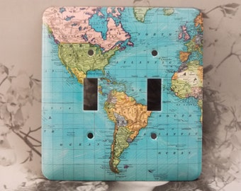 Metal Blue World Map Light Switch Cover - Blue World Map - 2T Double Toggle