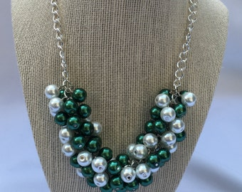 Marshall Game Day Necklace - Michigan State necklace - Celtics Necklace - Green White Necklace - GameDay Necklace - Green Necklace MSU