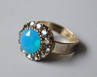 Turquoise opal crystal ring