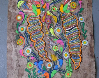 Vibrant Mexican folk art painting on handmade amate paper | 2 long tailed birds in a blue tree