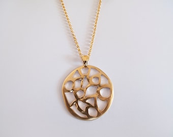 Large Gold Abstract Pendant Necklace