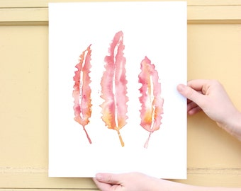 Pink Feather Watercolor Print