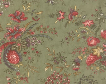 Moda Hyde Park Sage Green Large Floral Fabric 2760-15 BTY 1 Yd