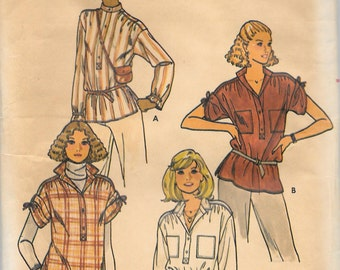 Vintage 1970's  QUICK Butterick Pattern 6187 TOPS Misses Size 14