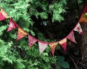 Vintage sari bunting indian bunting boho bunting recycled sari embroidered red bunting handmade bunting reworked sari upcycled sari indian