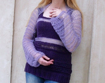 Hand Knitted Top and Bolero.Women top and Shrug. Lavender Bolero. Purple top.