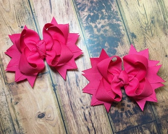 Boutique Stacked Hair Bows / Piggy Tail Bows / Hair Accessories
