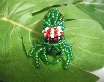 Handmade Glass Beaded Phidippus Green Jumping Spider Figurine