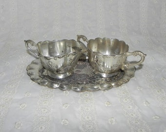1940's Occupied Japan Creamer & Sugar with Fluted Edge Tray