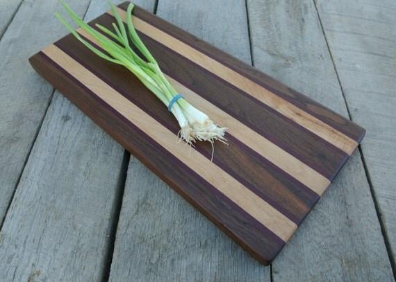 Maple Bread Board/ Serving Board with Purpleheart and Walnut Stripes