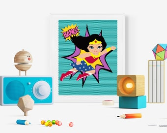 Wonder Woman Wall Art wonder woman art | etsy