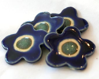 "Ceramic Buttons - Flower Buttons - Blue & Kiwi Green - 1 1/16"" with button backs"