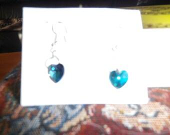 swarvoski crystal heart shape bead earings