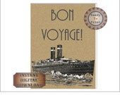 Bon Voyage Poster Roaring 20s Travel Sign Printable Gatsby Era Art Deco Wedding Decor Edwardian Party Supply Wall Art Home Decor Steamship