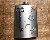 Steampunk Airship Propeller Hip Flask 6 Ounce ~ Bronze Tone Skeleton Key / Steampunk Aviator Anachronaut Altered Art Cosplay Accessory
