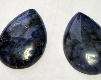Blue and Black Agate Teardrops