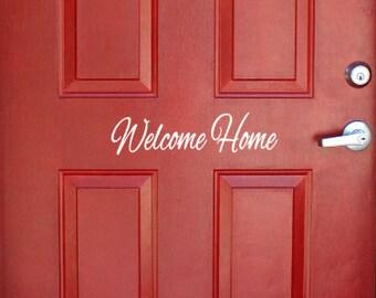 Welcome Home front door vinyl decal