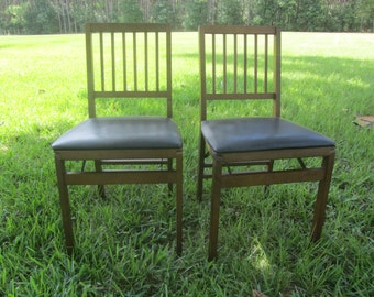 Vintage Folding Chair, Art Deco Chair, wood chair, tiny home,1940s furnitur,card chair, dining chair, extra chair,  steakmore co. Camp chair