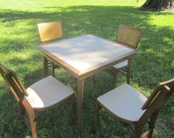 Folding Card Table, Folding Chairs, Stakmore, Furniture, Vintage Wood Table  4 Chairs