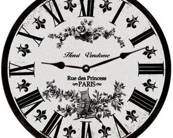 Grey Toile Clock- French Toile Clock