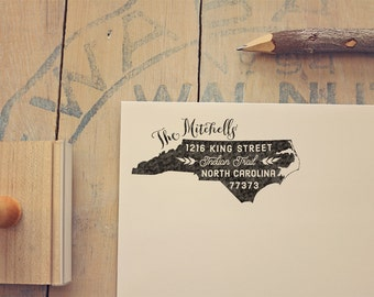 North Carolina Return Address State Stamp - Personalized Rubber Stamp