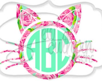 Lilly Cat Monogram Decal